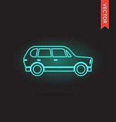 Neon car icon vector