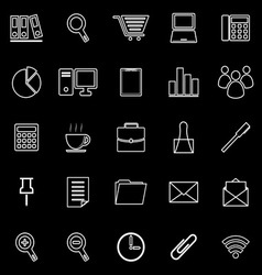 Office line icon on black background vector