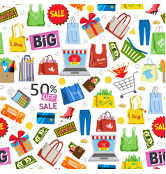 Online shopping and sale items gifts shopping vector