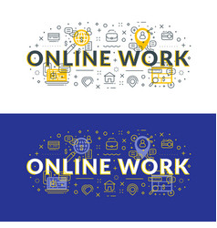 online work flat line concept for web banner and vector image
