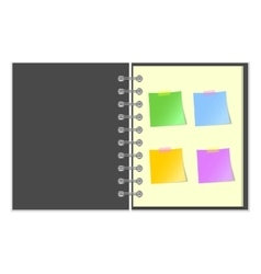 Open grey cover notebook with stickers vector image