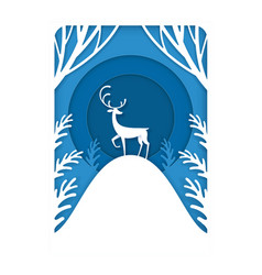 paper cutting art a deer standing in forest vector image