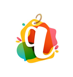 q letter logo with sale tag icon watercolor vector image