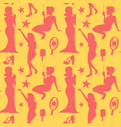 Retro woman singing on microphone seamless pattern vector