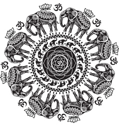 Round pattern with decorated elephants vector image