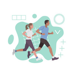 running man and woman fashion abstract composition vector image