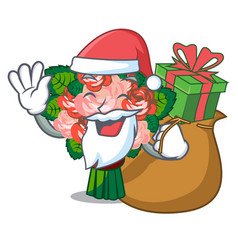 Santa with gift flower bouquet placed on glass vector