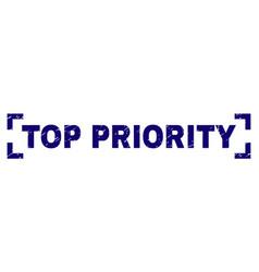 Scratched textured top priority stamp seal between vector