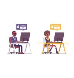 Secret agent black man and woman spies computer vector
