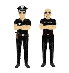 Security and police guards with arms folded vector