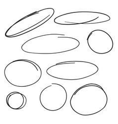 Set hand drawn ovals vector