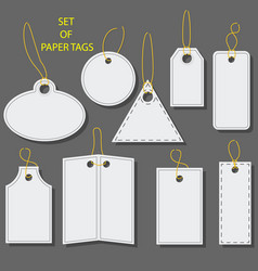 Set of blank white paper tags labels stickers vector