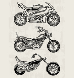 set vintage motorcycles collection bicycles vector image