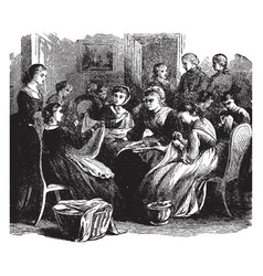Sewing circle or a group of women vintage vector