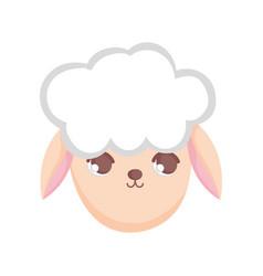 sheep head animal cartoon on white background vector image