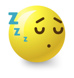 Sleepy smiley icon cartoon style vector