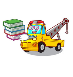 Student with book tow truck for vehicle branding vector
