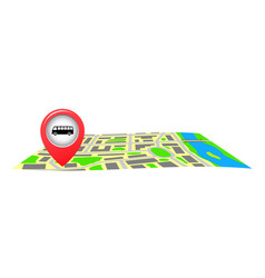 The bus stop sign on the city map vector