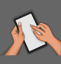 Touch screen by hand vector