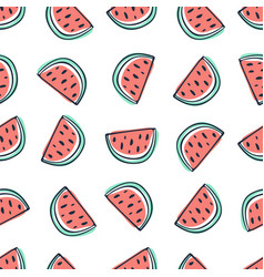watermelon seamless pattern in sketchy style vector image