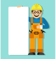 Worker in helmet holding a blank poster vector