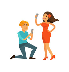 Young man and woman taking photos of themselves vector