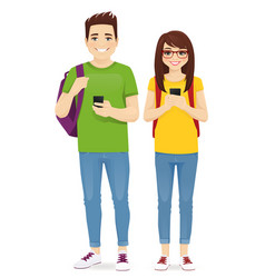 Young people with gadgets and backpacks vector