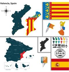 Map of Valencia vector image vector image