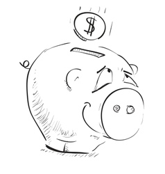 Money cartoon pig money box sketch icon vector image vector image