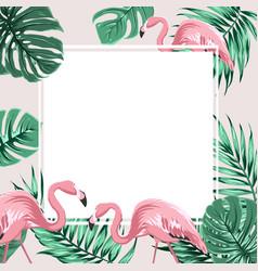 tropical border frame banner leaves flamingo birds vector image vector image