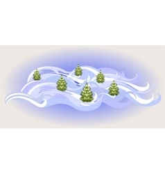 Winter landscape with Christmas trees EPS10 vector image vector image