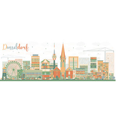 abstract dusseldorf skyline with color buildings vector image vector image