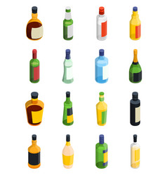 alcohol isometric icon set vector image vector image