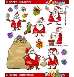 Cartoon Set of Santa Christmas Themes vector image vector image