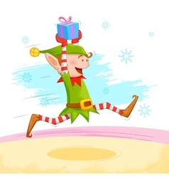 Elf distributing Christmas gift vector image vector image