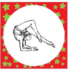 flexible gymnast performing vector image