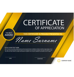gold elegance horizontal certificate template vector image vector image