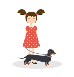 Happy smiling girl with her dachshund vector