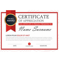 red elegance horizontal certificate with vector image vector image