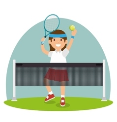 tennis girl jump court net vector image