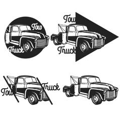 Vintage car tow truck emblems vector image