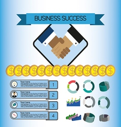 Business success infographic with icons shaking ha vector image