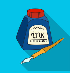 dip pen with inkwell icon in flat style isolated vector image