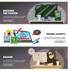 network fraud banners set vector image