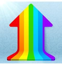 Rainbow stripes realistic plastic up arrow vector image vector image