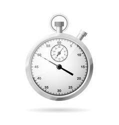 realistic metallic stopwatch front view vector image
