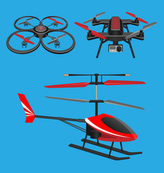 Red helicopter dark quadrocopters with and vector