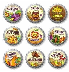 thanksgiving bottle caps vector image