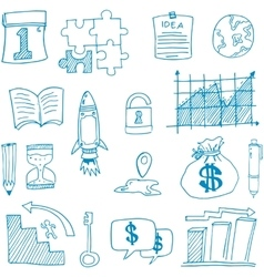 Doodle of business set symbol vector image vector image