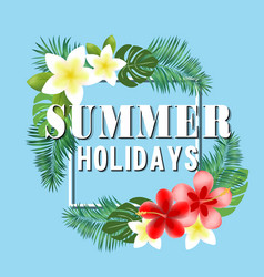 summer holidays flowers blue background ima vector image vector image